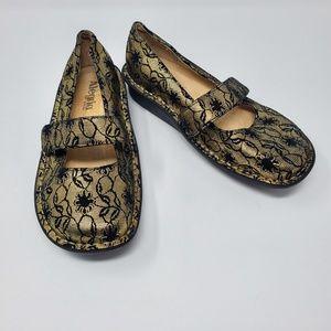 Alegria Paloma Maryjane Black Gold Lace Shoes